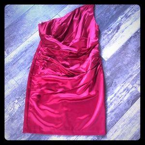 David's Bridal One shoulder red dress sz 16